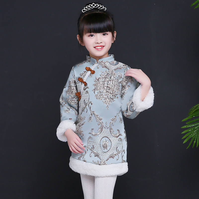 2017 winter thicken warm chinese style tang suit vintage casual cheongsam kids flower embroidery qipao dress for girls clothing chinese style traditional girls winter dress child tang suit embroidery cheongsam dresses robe baby qipao for new year dresses