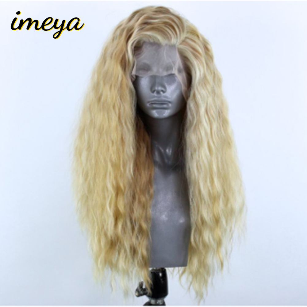 Imeya High Temperature Heat Resistant Fiber Long Wavy Synthetic Lace Front Wigs Blonde Color For Women Wigs(China)