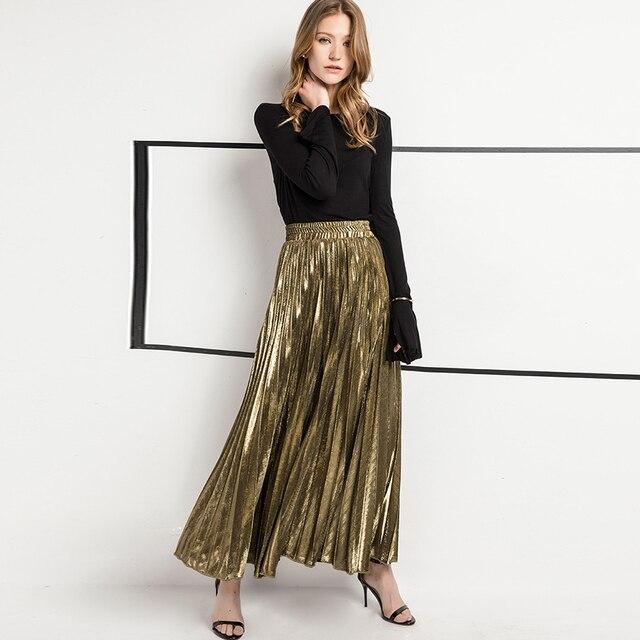13fad8c1d Falda plisada elegante de verano para mujer falda delgada elasticidad  sólida Simple cintura alta línea a De Oro talla grande XXL