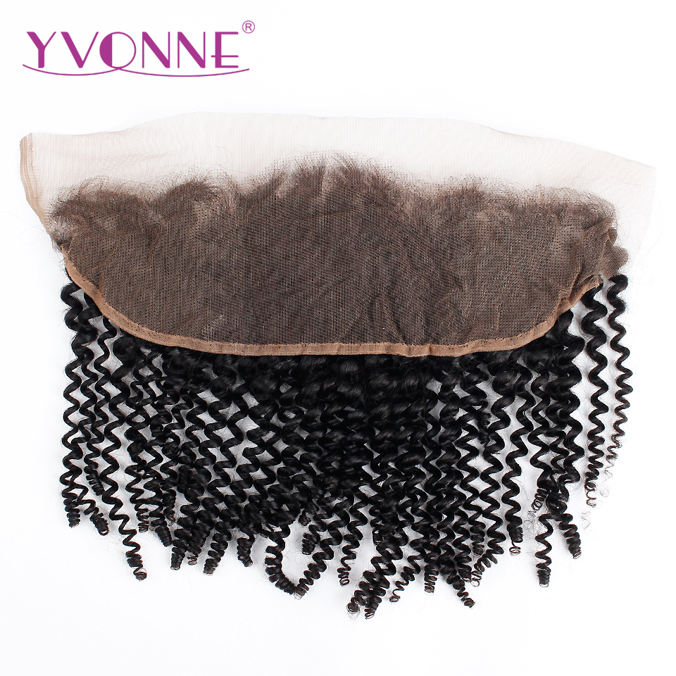 YVONNE Brazilian Kinky Curly Lace Frontal 13x4 Virgin Hair Natural Color 100% Human Hair Products