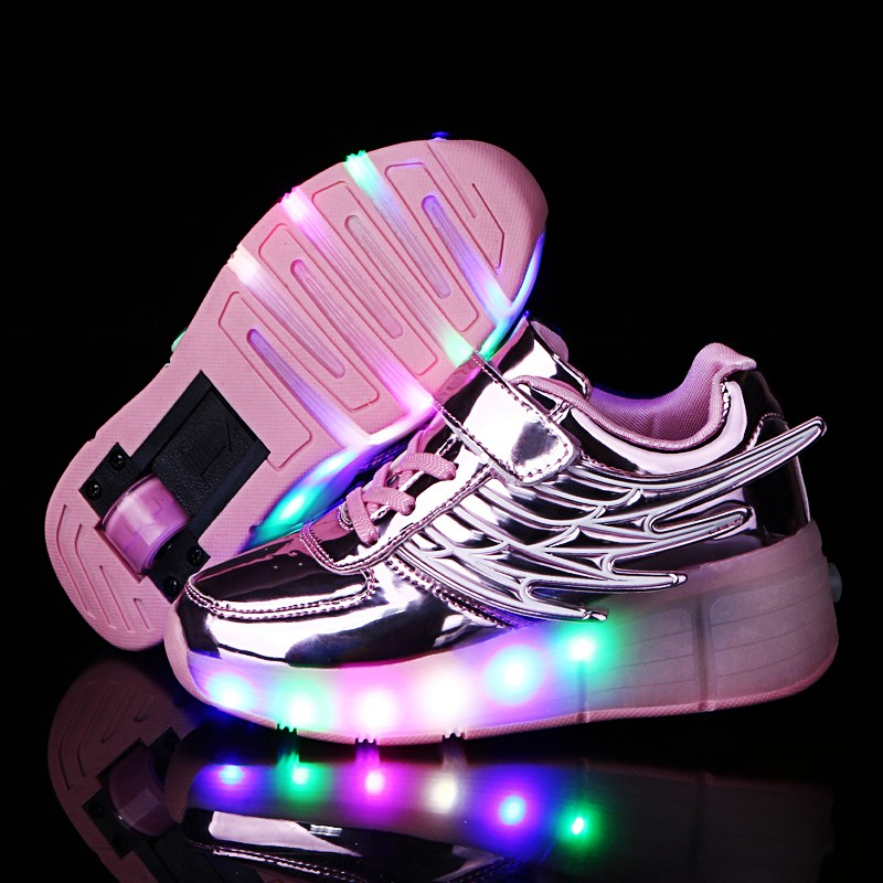 2019 Heelys Boy Girl Roller Skate Sneakers Kids Shoes With Wheel Shoe Negro Zapatillas Con Ruedas LED Size 16.8-23cm Pink