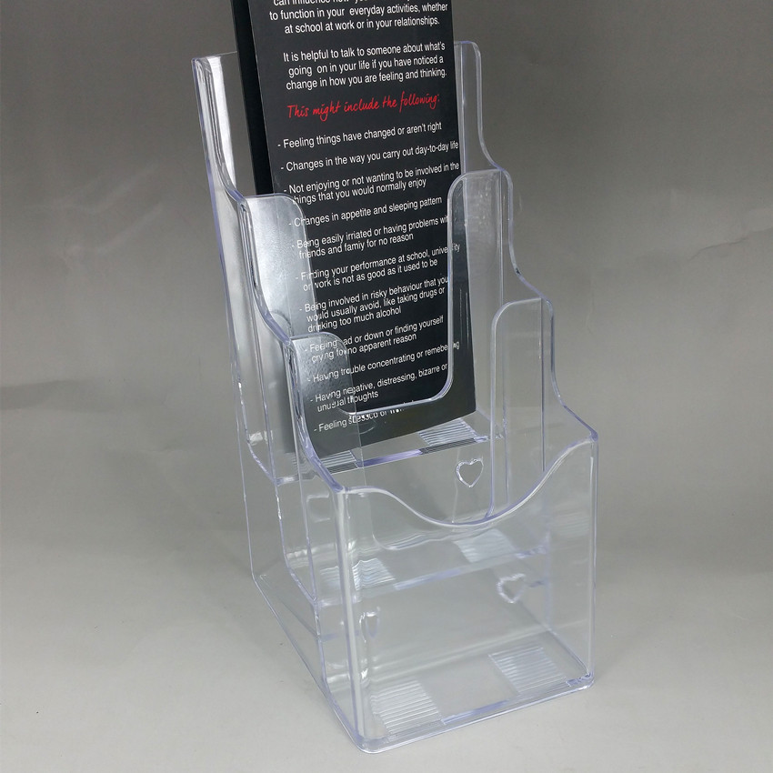 Plastic Clear A40 Three Tiers Acrylic Brochure Literature Leaflet Adorable Acrylic Flyer Display Stand