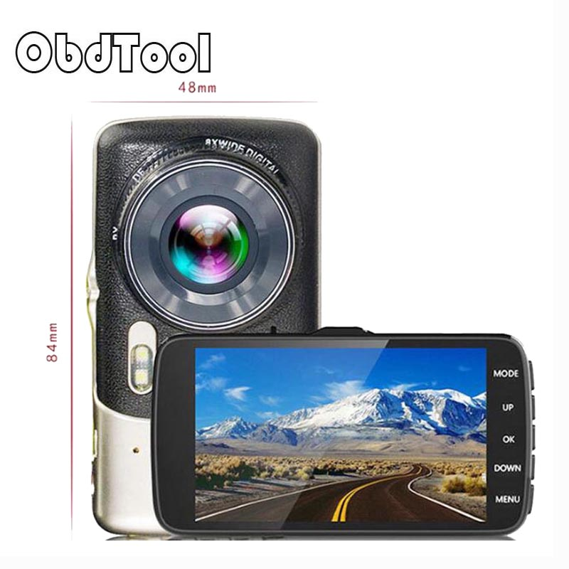 OBDTOOL Full Hd 1080p Parking Recorder Video Registrator 4.0 Inch IPS Dual Lens Camera 1Pcs