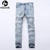 2018 Plus Size Ripped jeans Men Jeans Hole Designer Summer Mens side zipper Jeans Slim Cotton European Style Denim Trousers