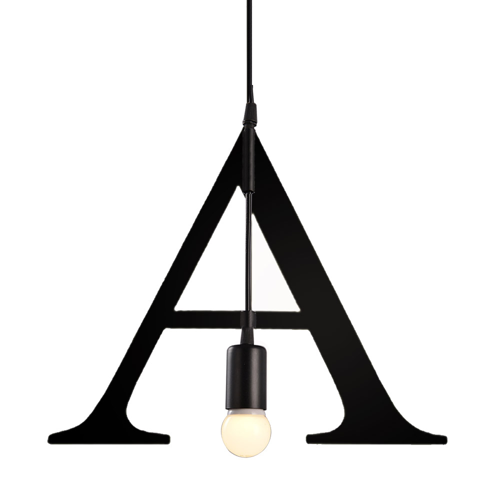 English Letter Pendant Light Simple Design Art Hanging