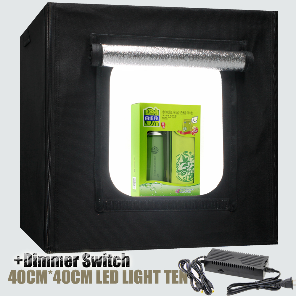 ФОТО Dimmer Switch LED Softbox 40x40cm Portable Camera Photo Light Box Tent Studio Lighting Tent For Jewelry Toys Shoting