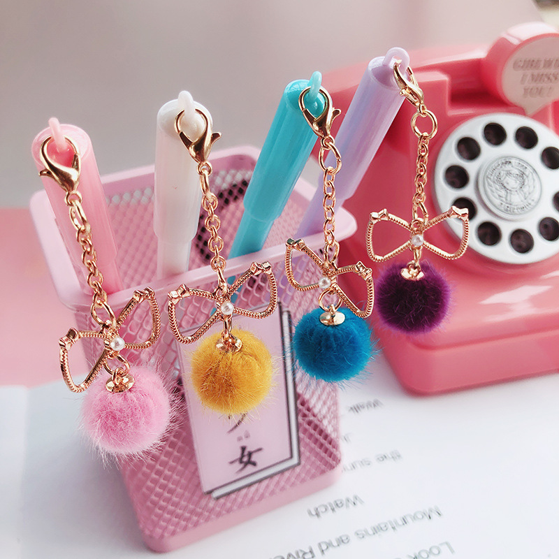 1 Pcs Creative Cute Kawaii Beautiful Bow Pendant Gel Pen Student School Writing Signature Pen Children Gift Stationery Supplies