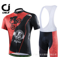 2016 New Short Sleeves Black Red Bike Cycling Jersey Bib Shorts Sets Quick Dry