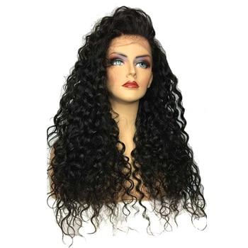 180% высокая плотность 26 дюймов черные длинные вьющиеся синтетические Синтетические волосы на кружеве парик жаропрочных Волокно для черный ...
