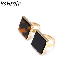 2017 fashion delicate ring Ms contracted wind ring Black acrylic square ring цена