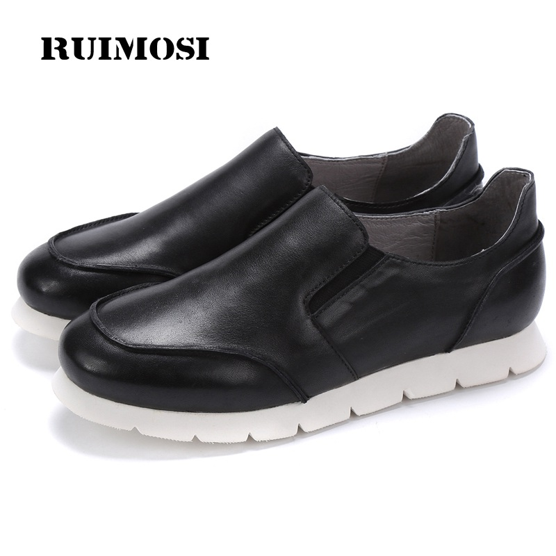 RUIMOSI Casual Round Toe Man Flat Creepers Shoes Male Genuine Leather Comfortable Loafers Men's Handmade Basic Footwear HJ23
