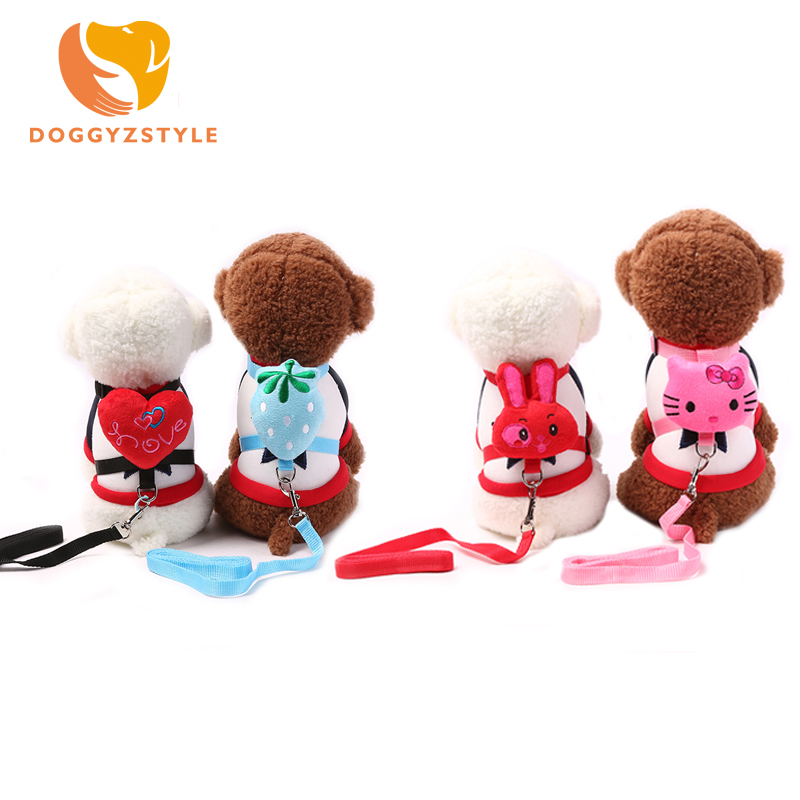 Adjustable Cute Pet Dog Carton Leashes and Collars Set Puppy Leads for Small Dogs Cats Dog Harness Pet Accessories DOGGYZATYLE
