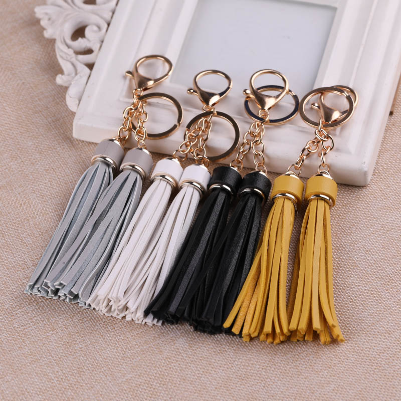 Korea Creative Tassel Keychain Pendant Car Key Chain Female Fashion Simple Key Ring Personality Bag Hanging Ornaments