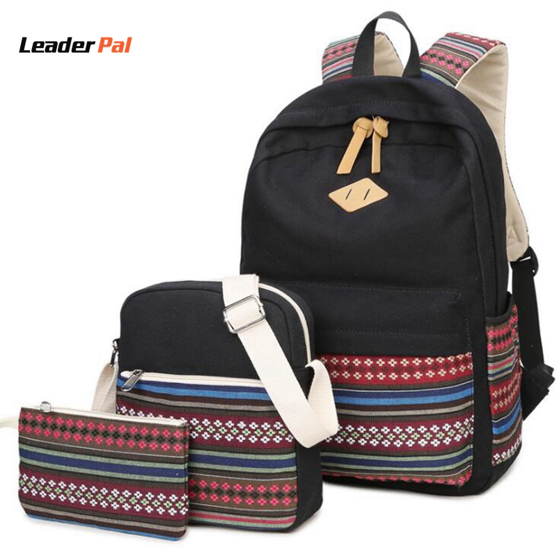 3 Pcs Set Cute Women Backpacks Canvas Geometric Printing Bags Women Casual School Bag for Teenage