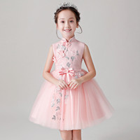 2018 Summer New baby girls Chinese wind Embroidery Flowers Birthday Party Dress children kids Evening Party Cheongsam Prom Dress