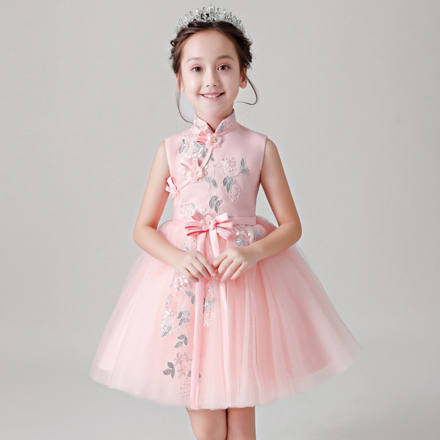 c076d39b3 2019 Summer New baby girls Chinese wind Embroidery Flowers Birthday Party  Dress children kids Evening Party