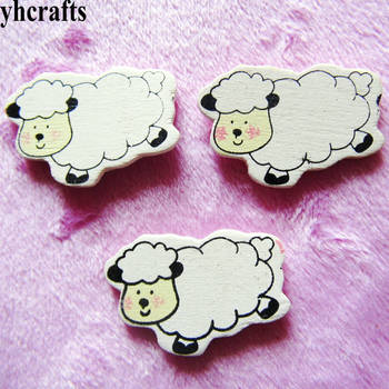 10PCS/LOT,White sheep wood stickers Spring Easter crafts Plant garden decoration.Wall Fridge stickers Kindergarten crafts OEM oem 10pcs lot 2015