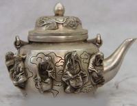 4 China White Copper Silver Eight Immortals Buddha Crane kettle Wine Pot Teapot SD 506