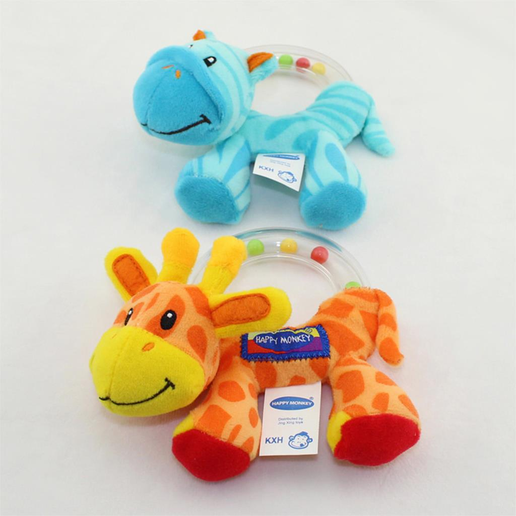 Soft Baby Toys : Hot soft toys giraffe zebra animal model hand bell rattles