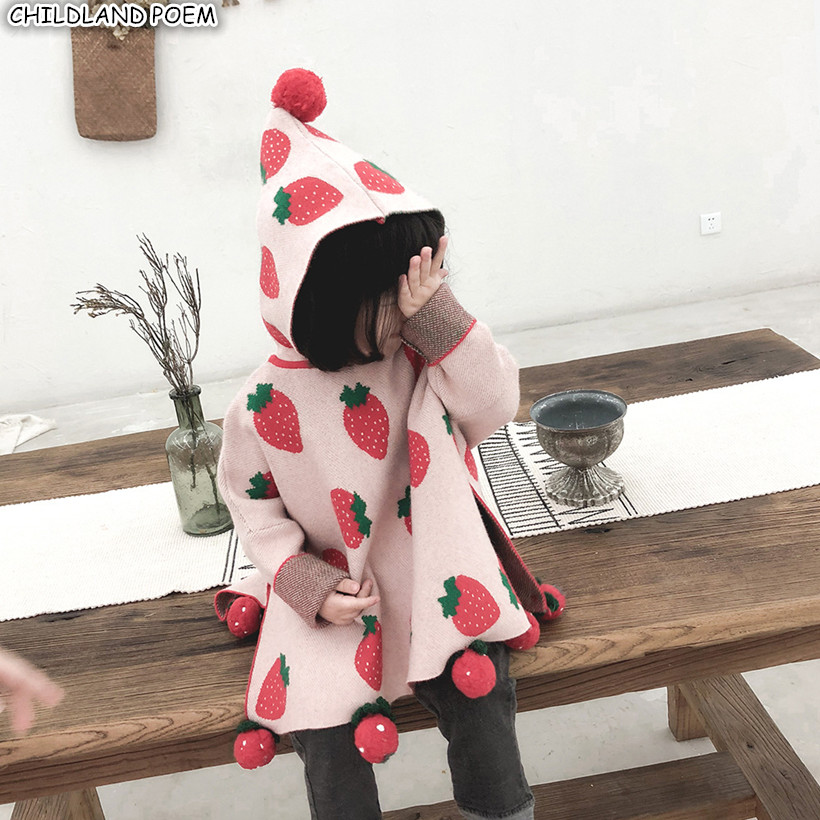 Baby Sweater Knitted Baby Girl Sweater Cloak Pompom Girls Cardigans Christmas Kids Sweaters Coat Toddler Sweater For Girls sweater