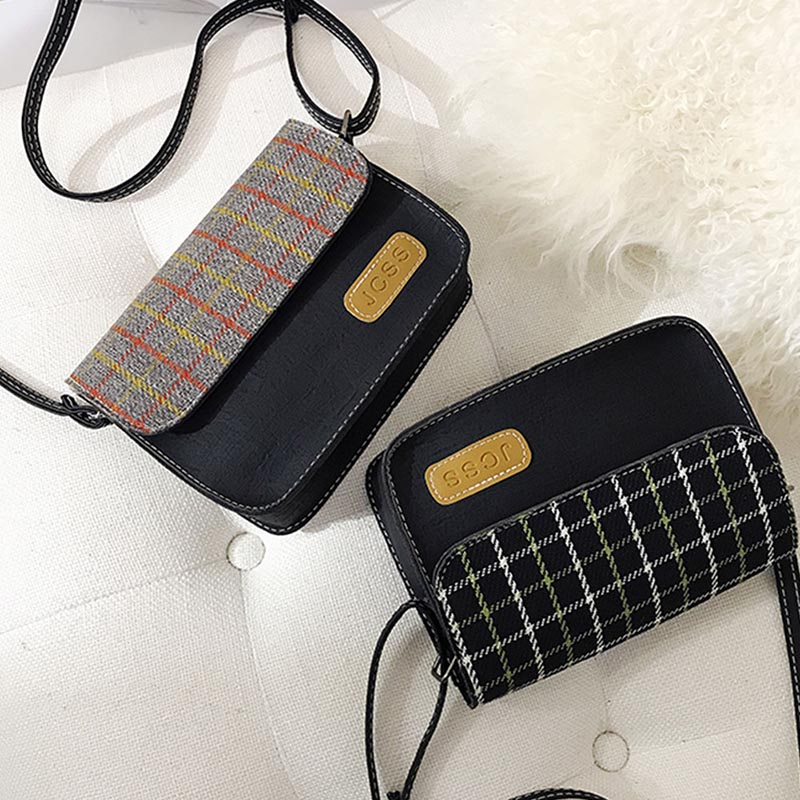Women PU Leather Plaid Print Messenger Bags Versatile Simple Retro Shoulder Fashion Square Bag For 2019