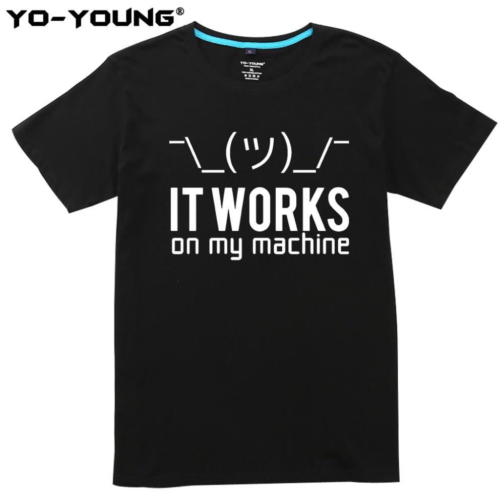 Nouveau Programmeur T-shirt Avec Drôle Geek D'écriture Il fonctionne sur ma machine 100% Peigné Coton D'été T chemises pour Homme