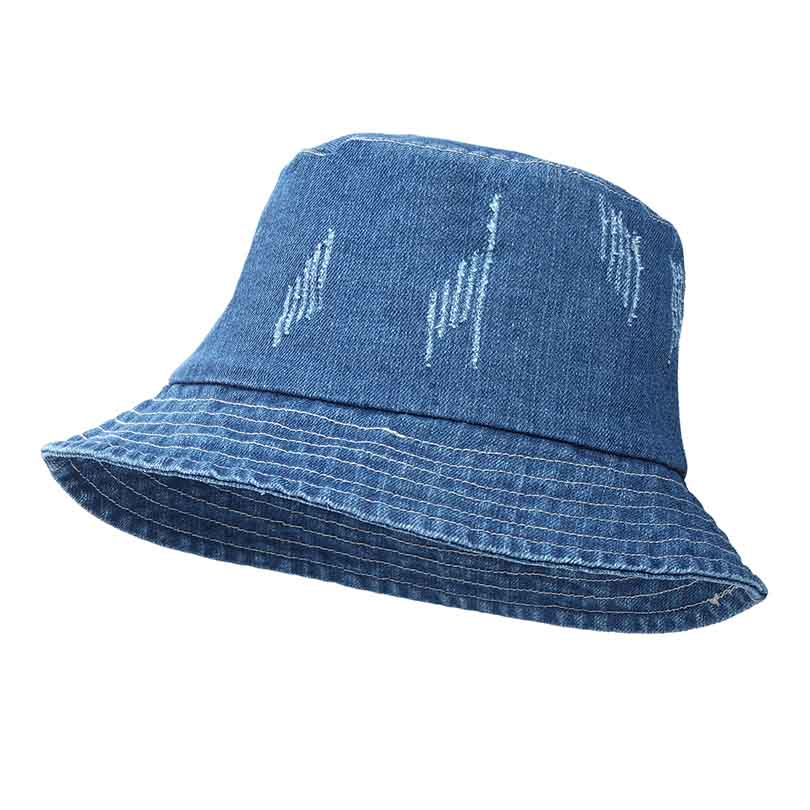 57a77852f0a Jeans Bucket Hat Fashion Summer Women Washed Denim Sun Hat Floppy Cap Wide  Brim Foldable Sun