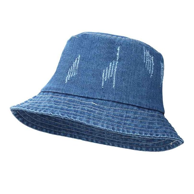Jeans Bucket Hat Fashion Summer Women Washed Denim Sun Hat Floppy Cap Wide  Brim Foldable Sun-Proof K Pop Fishing Hat 2018 41570804eca