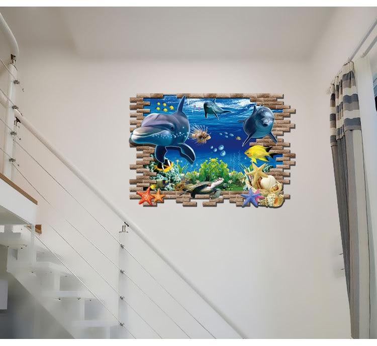 Image 5 - Dolphin Turtle Seastars Sea World 3D Creative Wall Sticker For Home Kitchen Decoration Home DIY Wall Stickers Blue Decor-in Wall Stickers from Home & Garden