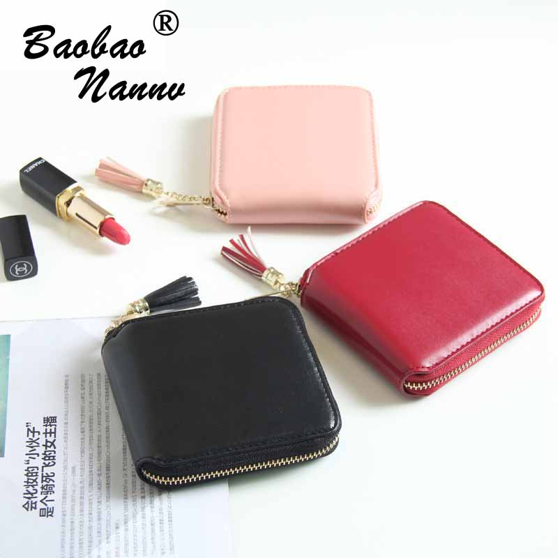 Women Wallet For Coin Card Cash Invoice Fashion Lady Small Purse Tassels Short Solid Female Synthetic Leather Clutch Card Holder