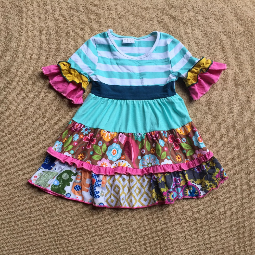 все цены на Blue stripes Elephant design Ruffle Full sleeves style Summer with Flower trim and pocket Baby Girls Dress for present
