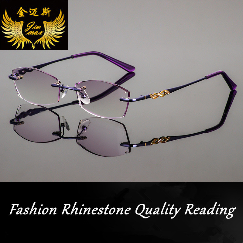 New Design Fashion Woman 39 S Rhinestone Rimless Reading Glasses Frame Purple Colour Women Style