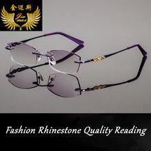 Новый Дизайн Моды Женщина Горный Хрусталь Без Оправы Очки Для Чтения Кадр Фиолетовый Цвет Женщины Стиль Пресбиопии Очки для Женщины