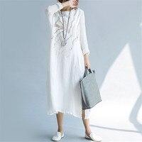 Vintage Embroidery Women Dress Spring Summer Maxi Long Dress Vestidos Plus Size Cotton Linen Dress Women