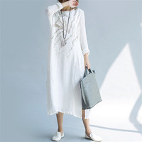Vintage Embroidery Women Dress Spring Summer Maxi Long Dress Vestidos Plus Size Cotton Linen Dress Women Clothing Dresses C4007