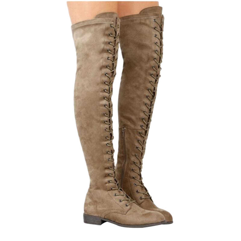 Seksi Dantel Up Over-the-diz Çizmeler Kadın Uyluk Yüksek Çizmeler Kadın Kış Çizmeler Düz Topuk Ayakkabı Kadın süet Batı diz-yüksek Çizme