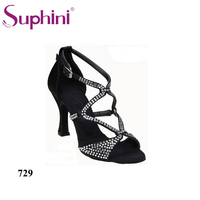 Free Shipping Suphini New Arrival Aliexpress Latin Dance Shoes Rhinestone Woman Professional More Heels Dance Shoes