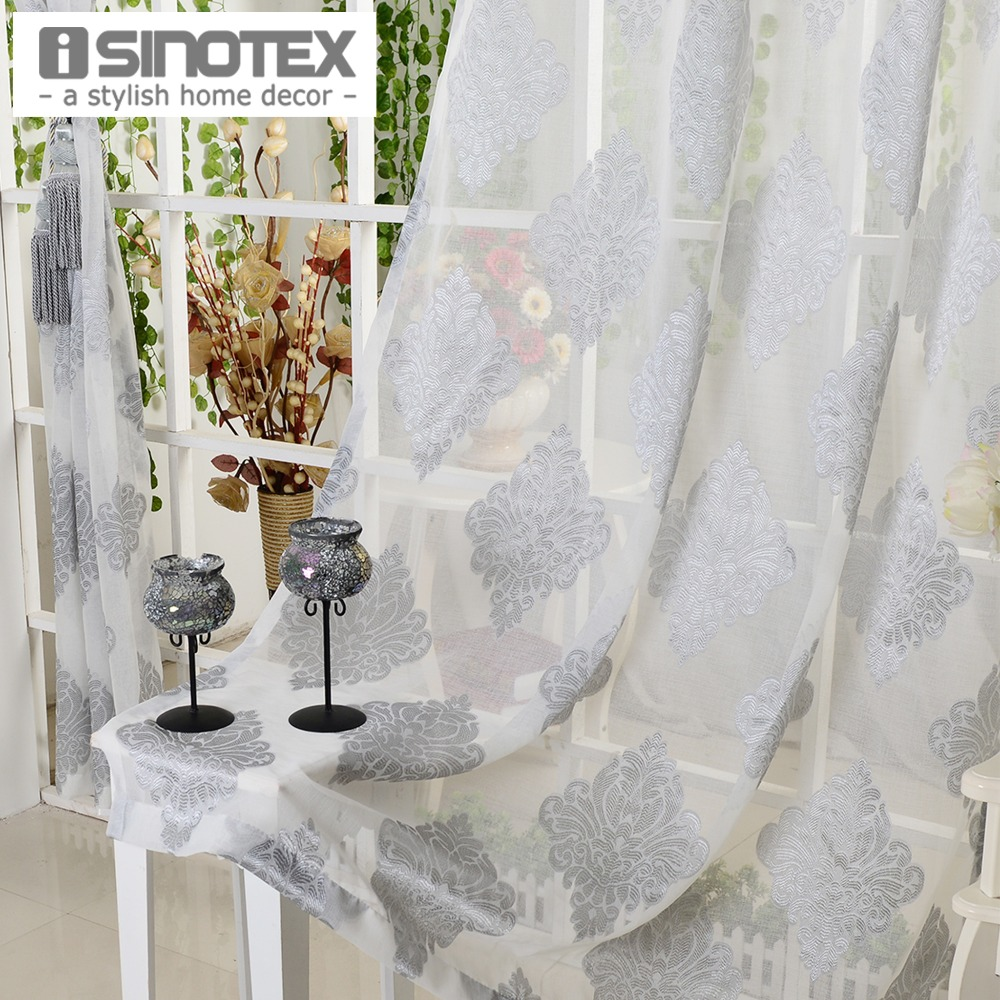 Window Curtain Grey Luxury Tulle Voile Fabric For Curtains Living Room Sheer Curtains Home Decoration Screening 1 PCS/Lot