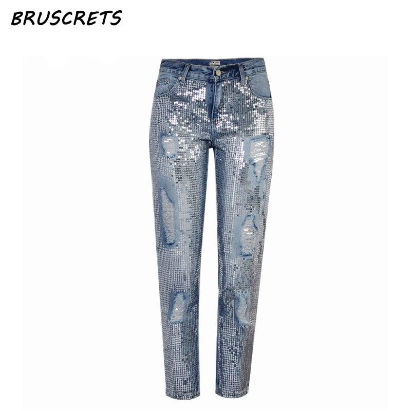 Vintage sequin <font><b>jeans</b></font> woman mom boyfriend ripped <font><b>jeans</b></font> for women mid waist distressed plus size loose denim pants streetwear