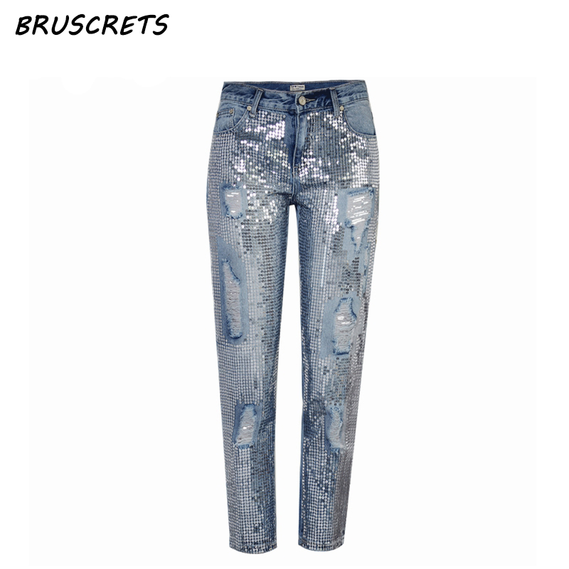 Vintage sequin jeans woman mom boyfriend ripped jeans for women mid waist distressed plus size loose denim pants streetwear new female casual sexy rose denim jeans with embroidery ripped vintage pencil jeans for women cuffs long pants plus size 2xl