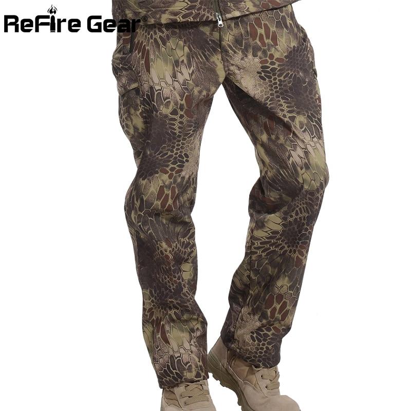 Refire Gear Winter Shark Skin Soft Shell Tactical Military Camouflage Pants Men Windproof Waterproof Warm Camo Army Fleece Pants #5