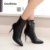 Cresfimix women fashion pointed toe spike high heel black boots lady sexy party night club white boots botas femininas a2293