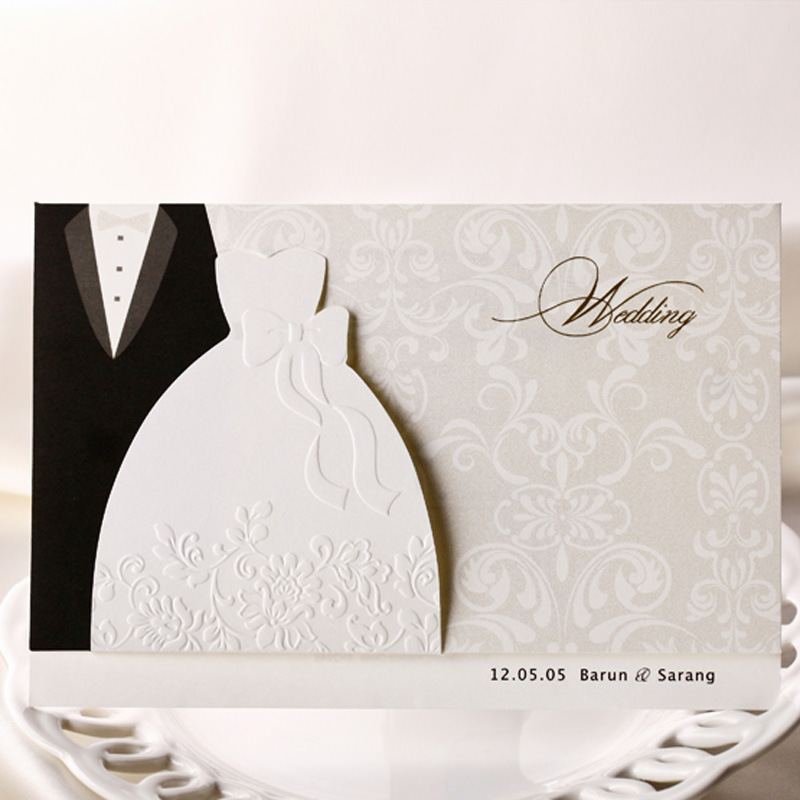 100pcs lot Wedding Invitations Cards Groom and Bride Evening Dress Free Printable Invitation Card for Wedding
