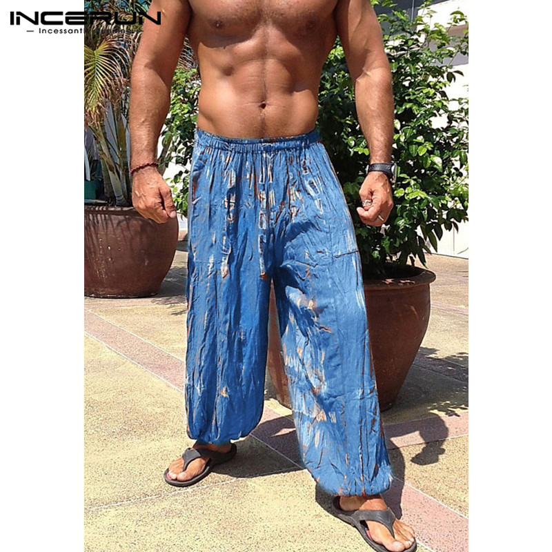 INCERUN Colorful Men Wide Legs Baggy Pants Loose Fitness Tie Dye Print Elastic Waist Joggers Dancing Male Trousers Sweatpants