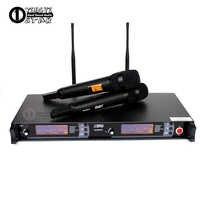 Microfone sem fio uhf profissional 2 canais sistema de karaoke microfone sem fio duplo microfone transmissor para skm9000 microfone sem fio