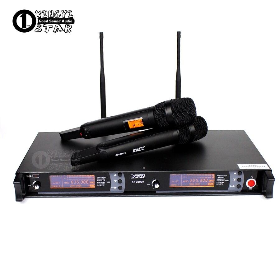 Professionnel Microphone Sans Fil UHF 2 Canaux Système de Karaoké Double Sans Fil Micro Mike Transmetteur Pour SKM9000 Microphone Sem Fio