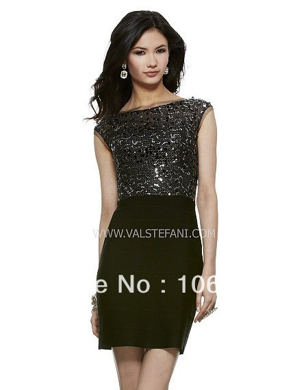 Free Shipping 2016 Black Sequined Short Mini Cocktail Party Dresses Vestidos Party Prom Gown New Hot Sexy Backless Cap Sleeve