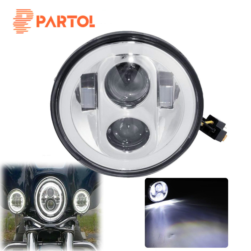 Partol 5 3/4 5.75 Motorcycle LED Headlight Headlamp Projector Halo For Harley Sportster 883 1200 softail Dyna