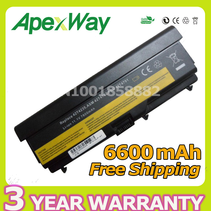 Apexway 9 cell battery for Lenovo ThinkPad Edge 14 T510 T510i T520 W510 W520 T410 T410i T420 42T4708 42T4709 42T4710 51J0499 gzeele new for lenovo for thinkpad for ibm x220 x220i x220t t410i t510i w520 t420s t520 english laptop keyboard us version