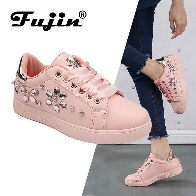 Fujin Female Shoes Sneakers Loafers Espadrille Rhinestone Brand Women New Pearl Party